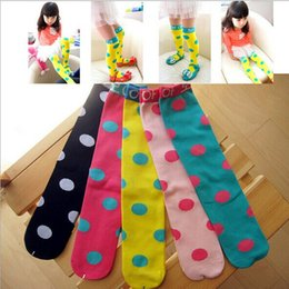 Wholesale Beautiful Socks - Kids Classic Knee High Popular Baby Cotton Socks Solid Color Dot Beautiful Girls Socks