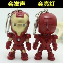 Wholesale Big Novelty Ring - Avengers LED Keychain lron Man Key Chain Ring Flashlight Torch Sound Toy Promotion Novelty Gift Lover children christmas gift C001
