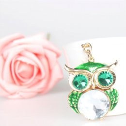 Wholesale Owl Moon Charm - Lovely Owl Green Crystal Charm Purse Handbag Car Key Keyring Keychain Party Wedding Birthday Gift gift wedding cake