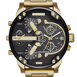 Wholesale Black Gold Promotions - Promotion Sale Business Sports Mens Big Dial Display Luxury Brand Watch Quartz Fashion Steel Band Wristwatch Military Watches