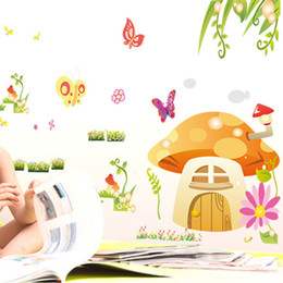 Wholesale Mushroom Nursery - 2015 New Removable Cartoon Mushrooms Butterfly Wall Stickers Home Decorative Wall Decal Home Decoration Wall Art kindergarten Wall Stickers