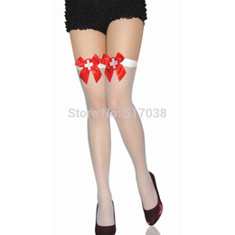 Wholesale Thigh High Fish Nets - 151204 BEILEISI White sexy fishnet nurse costumes Stockings with satin bows Over the knee fish net thigh high socks hosiery for women