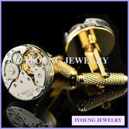 Wholesale Vintage Cuff Links - Mechanical Watch Movement Steampunk Mens Wedding Vintage Gold Plated Cufflinks Sleeve Nail French Business Shirt Cuff Links Gift