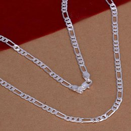 Wholesale 925 4mm Silver Chains - Fashion Men's Jewelry 925 sterling silver plated 4MM 16-30inches figaro chain necklace Top quality