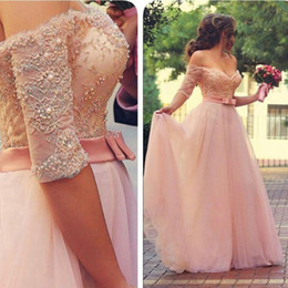 Wholesale Dress Formal Sweetheart Sale - Hot Sale Blush Pink Prom Dresses A Line Off the Shoulder Lace Tulle Floor Length Long Formal Evening Gowns Pearls Sleeves Sash