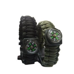 Wholesale Emergency Compass - Outdoor Gear Camping Paracord Parachute Cord Emergency Kit Survival Bracelet Rope with Whistle Buckle Compass Flint Fire Starter