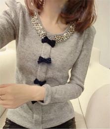 Wholesale Korean Shirt Shop - 2015 spring new Korean Shopping Zhenzhu Shan knit clothing fashion Slim long-sleeved T-shirt bottoming shirt female tide