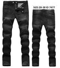 Wholesale Medium Plugs - New Arrive Skinny water wash Motorcycle mens jeans desinger B7477 in single cow thickened Slim paris top quality plugs men's jeans