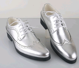 Wholesale Grooms Black Wedding Shoes - 2015 classic men's silver leather lace-up shoes fashion leisure business wedding groom shoes breathable shoes size:38-44 3colors choose#602
