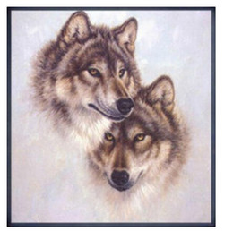 Wholesale Cross Stitch Diy Set - Wolf Husky cross stitch 100% accurate painting High quality animal cross stitch fabric sets handmake kit DIY handmade