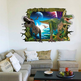 Wholesale Abstract Free Wallpaper - Wholesale 3D Dinosaur Wall Stickers Home Decor Wall Sticker For Kids Rooms Home Decoration Wallpaper Wall Decals Free Shipping