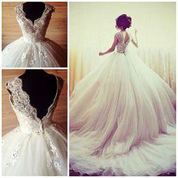 Wholesale Simple Eyelash - Gorgeous Ball Gown Wedding Dresses 2017 Winter Vestidos De Noiva Luxury Sequins Beads Appliques V Neck Bridal Gowns Eyelash Lace Dress