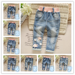 Wholesale Trousers Designs For Girls - Baby Clothes Jeans For Girls Kids Pants Multi 7 Designs Wholesale Fashion Elastic Waist Straight Trousers Hot Sale Free Shipping