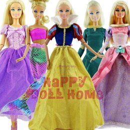 "Wholesale Xmas Gift For Baby Girls - 5 Set Original Fairy Tale Princess Dress 11"" Doll Clothes Party Outfits For Barbie Doll Girl Pretend Play xMas Gift Baby Toy"