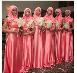 Wholesale Islamic Hijab Muslim Wedding Dresses - 2015 Vintage A Line Muslim Wedding Bridesmaid Dresses Long Sleeves Lace Appliques Beads Hijab Maid of Honor Gowns Islamic Coral