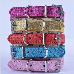 Wholesale Personalized Xs Rhinestone Dog Collars - Wholesale Dog Collars Rhinestone Buckle Glitter Leather Collares Size XS S Products For Dogs Small Mixed Colors