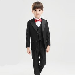 Wholesale Children Evening Wear - Kid Suits Boys Formal Wear Children Wedding Suit Boy Evening Suits Groom Tuxedos Evening Suits Clothing Sets
