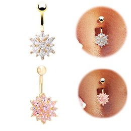 Wholesale Bell Press - Medical Steel Crystal Rhinestone press button ring Dangle navel piercing body jewelry tassel