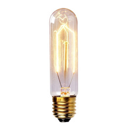 Wholesale Edison Industrial - Wholesale-Edison Vintage Antique Tungsten Filament T10 220V 40W E27 Industrial Light Glass Bulb Reproduction Droplight Incandescent Home