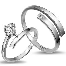 Wholesale Couple Pairs - Free shipping 925 sterling silver jewelry simple diamond smooth glossy pair adjustable new arrival wedding rings