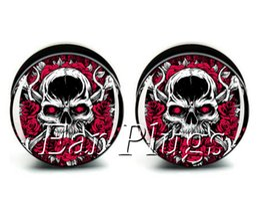 Wholesale Skull Rose Bag - Wholesale ear gauges 60pcs bag rose bone skull ear plug gauges tunnel ear expander ASP0481