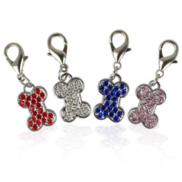 Wholesale rhinestone pet charms - (40pcs 4 Colors) Rhinestone BONE Shape Dog Tags Pet Pendant Collar Charms with hooks for Pet Decoration