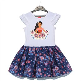 Wholesale Press Sleeves - Girl Dress Kids Short Sleeve Dress Floral Cartoon Press Dress White Navy Color 8 p l