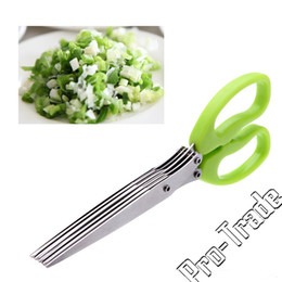 Wholesale Scissors Herbs - Multi-functional Stainless Steel Kitchen Knives 5 Layers Scissors Sushi Shredded Scallion Cut Herb Spices Scissors 00826