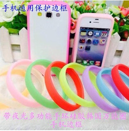 Wholesale Iphone Bumper Glow - 2015 Universal LED Luminous Ring Bumper Case Frame Glow TPU Silicone Rubber Lighting Wrist Bracelet For iphone 6 plus 5 5S Samsung S6 edge