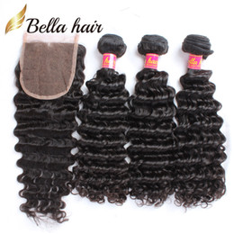 Wholesale 5a Virgin Weft - Unprocessed Virgin Peruvian Hair Top Closures Bundle Hair With Lace Closure Bellahair 3pcs Deep Wave Wavy One Lace Closure Bellahair 5A