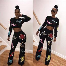 Wholesale Black Female Jumpsuit - Sexy Women Sports Wear Two Piece Set 2017 Female O Neck Shorts Crop Tops High Waist Long Pants 2 PCS Printed Jumpsuits Outfit Tracksuit