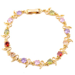 Wholesale Chain Links Jewellery - 1pc lady's 24K yelllow Gold Filled Jewellery multicolor clear bracelet best gift free shipping