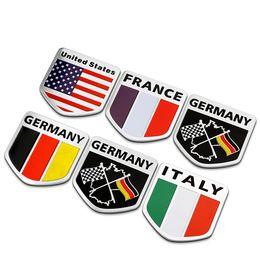 Wholesale Uk Flag Sticker - Aluminium Alloy America UK Italy France Germany England Russia United States Flag Car Styling Emblem Badge 3D Car Sticker Logo Decal