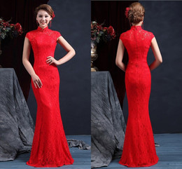 Wholesale Cheongsam High Neck - High Quality High Neck Sleeveless Chinese Mermaid Cheongsam Wedding Dresses 2015 Floor Length Zipper Back Red Lace Wedding Dress Bridal Gown