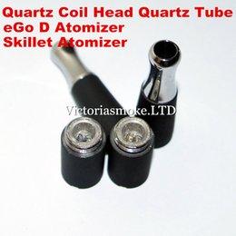 Wholesale Bowling Electronic - Skillet Atomier Ego D Atomizer Dual wax quartz Coils Skillet Vaporizer Vaporizer Wax Quartz Tube Bowl Skillet Electronic Cigarette Atomizer