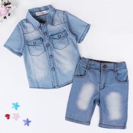 Wholesale Boys Cowboy Shirt - Summer Kids Boys Denim Casual Sets Clothes Children Short Sleeve Cowboy Shirts Tops+Jeans Shorts 2PC Track Suits Costume Clothing