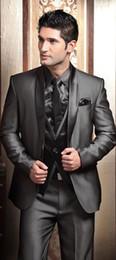 Wholesale Tuxedo Dress Party - HOT -- New Design Shawl Lapel Charcoal Gray Groom Tuxedos Men's Wedding Dress Party Tuxedos Prom Suits(Jacket+pants+tie+Vest)NO585