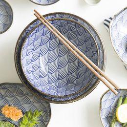 Wholesale White Ceramic Dinnerware - Underglaze Color Japanese Wave Pattern Ceracmic Dinnerware Pasta Plate Rice Bowl Porcelain Saucer Dish