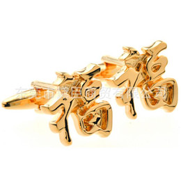 Wholesale French Cuff Clothing - Dongguan cufflinks popular spot mixed batch of custom clothing kanji word blessing gold cufflinks French Cufflinks Cufflinks CZ