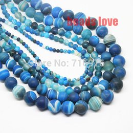 Wholesale Dull Agate - Wholesale-Discounts Hot 4 6 8 10 12 14mm Peacock blue Dull Polish Matte Striated Agate Round Beads Free Shipping F00132
