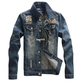 Wholesale Vintage Clothing Stand - Denim Jacket men high quality fashion Jeans Jackets Ripped Holes Slim fit Vintage Mens Jacket and Coat outdoors Jeans clothing