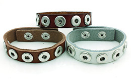 Wholesale Leather Jewelry Cuffs - New Arrival Cuff Bracelets Fashion Interchange 12mm Snap Button Infinity 3 Color Leather Bracelets DIY Jewelry