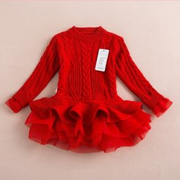 Wholesale Childrens Dress Sweaters - Christmas Sweater Girls Lace Tutu Sweater Dresses Kids Babys Childrens Clothing 2016 Autumn Winter Long Sleeve Princess Dress