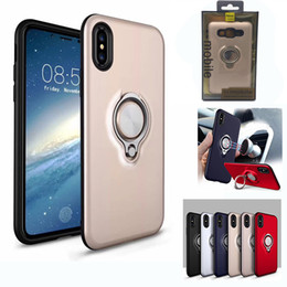 Wholesale Iphone 5s Stand Case - 360 Ring Stand Holder Magnetic Back Cover Hybrid Armor Case Defender Cases with Retail Package For Sumsung S8 iPhone X 8 7 6 6S Plus 5 5s SE