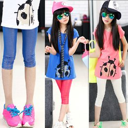 Wholesale Dots Tight - Girls Fashion Shinning Stretch Legging Kids Summer Clothing Capri Pants For 8~16 Year Kids 5 P L