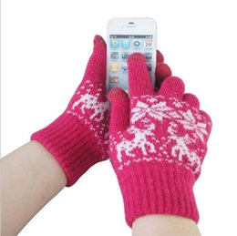 Wholesale Touch Gloves Deer - Wholesale-New Unisex Deer Smartphone Screen Touch Gloves.Man Women Magic Touch Thick Warm Winter Gloves