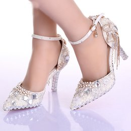 Wholesale White Heels For Prom - Pointed Toe Ankle Strap Boots Bridal Shoes Ivory Pearl Wedding Party Dress Shoes Rhinestone Pumps for Wedding Events Prom Shoes