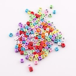Wholesale Square Bead Bracelet - Fashion 6mm Mixed Colorful Acrylic Letter Alphabet Square Beads For DIY Loom Bands Jewelry Bracelets JJAL BE315