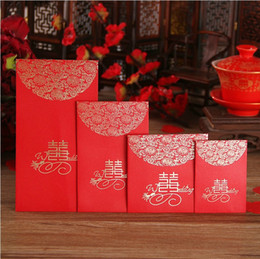 Wholesale Money Envelopes - 4 size China Traditional Wedding Favor Chinese Red Packet Envelope Gift bag Stamping Happiness Give children lucky money in New year