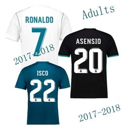 Wholesale White Fans - 2018 The fans version Away black Real Madrid Soccer Jersey 17 18 CR7 soccer shirt Ronaldo Bale Football uniforms Asensio SERGIO RAMOS sales